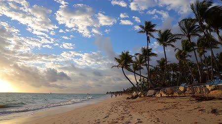 Relaxation on tropical island beach. Caribbean sea sunrise, Punta Cana, Dominican Republic