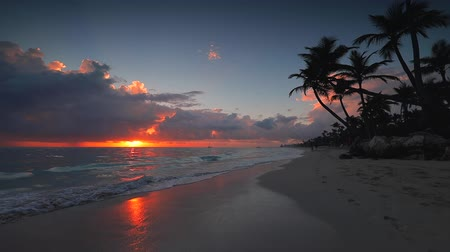 Sea sunrise and tropical beach on caribbean island. Punta Cana, Dominican Republic