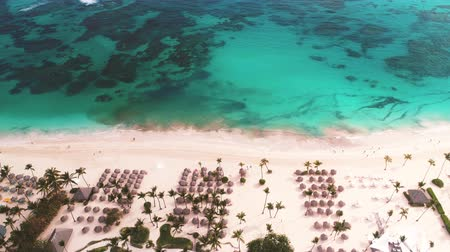 dominikana : Aerial landscape view of Caribbean tropical beach. Travel and vacation in Bavaro resort. Punta Cana, Dominican Republic.