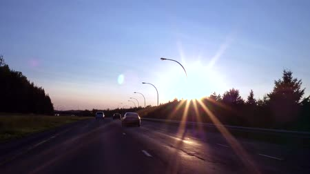 samochody : Driving fast on the highway with perfect blue sky at sunset (Package of 2 scenes)