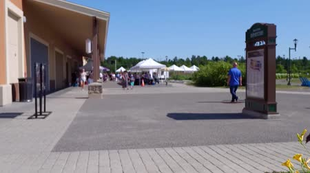 ortanca : Looking at the farmer s market behind a tree (Package of 2 scenes, traveling forward, panning right) Stok Video
