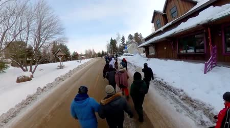 gösterici : Activists march during ecological rally. High angle footage on a group of ecological campaigners marching through a snowy town during winter. People wearing padded coats unite against global warming.