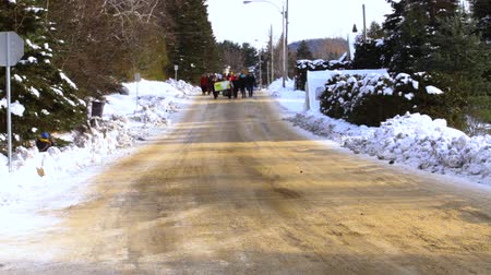 short clip : Activists march during ecological rally. A short clip showing a group of environmental demonstrators marching towards the camera on a snow covered road during a rally against climate change.
