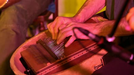 staging : Folk musicians perform intimate gig. Hands of a musician are seen closeup playing a kalimba aka sanza, a traditional thumb piano instrument used in African music. Seen in a cozy music bar.