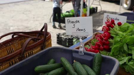 yem : Volunteer work on ecological farm crops. Nutrient rich and freshly picked vegetables, courgettes and radishes, are seen displayed for sale on a local farm selling organic produce during harvest season.