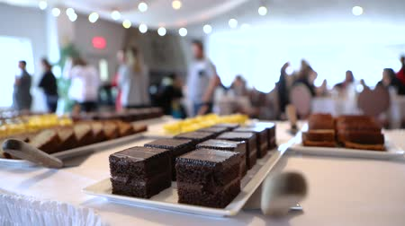 gıda maddesi : Corporate event professional catering. Rich and indulgent chocolate cake and fresh desserts are seen in the foreground of a community hall during a celebration with blurry people in the background. Stok Video