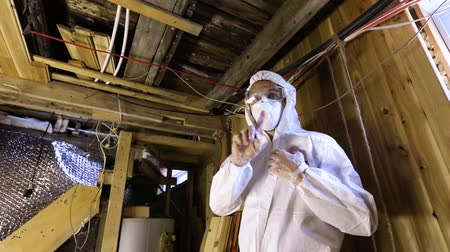 iaq : Indoor damp & air quality (IAQ) testing. A building assessor is seen in full PPE (personal protective equipment), shaking finger in condemnation of wood support structures, failed inspection with rot.