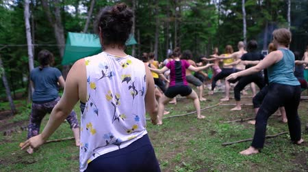 istenség : Diverse people enjoy spiritual gathering A large mixed group of individuals are seen in slow motion in a forest clearing, experiencing mindful tai chi during a multicultural retreat in natural setting.