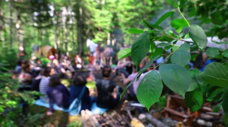 divinity : Diverse people enjoy spiritual gathering People celebrate shamanism and native culture during a woodland retreat, seen sitting together in dense woodland, blurred behind tree foliage in slow motion. Stock Footage