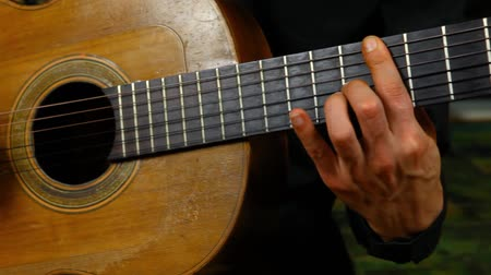 tablao flamenco : Panning right on a professional guitarist practicing fingerpicking techniques at home Archivo de Video