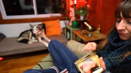 guitarrista : Close up of a young girl learning how to play ukulele sitting in a sofa in her living room with husky dog