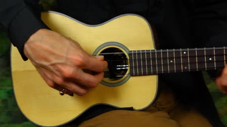 Panning right of a professional ukulele player with long hair practicing rhythmical fingerpicking techniques at home