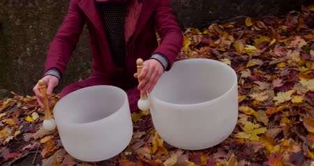 singing bowl : Fast traveling around scene from the front filmed in the forest and showing trees with leaves turned to yellow and dead leaves all around the white instruments. Man is wearing an urban red jacket.