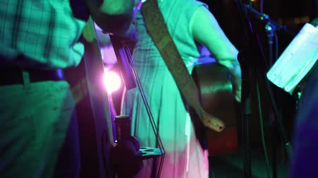 taberna : A country swing band perform on a stage with colored lights. Selective focus is on the double bass strings. Guitar and banjo are in the background