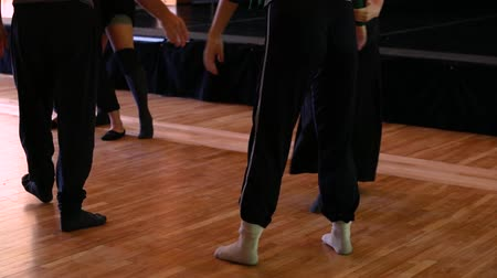 four legs : Dance festival workshop. Four dancers taking instructions and then massaging one another in a standing position on wooden floor Stock Footage