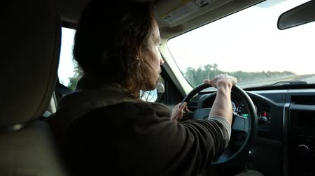 hız göstergesi : young man with long hair is driving along a highway in late afternoon. From back seat of the car we see the side of his face and hands on the wheel