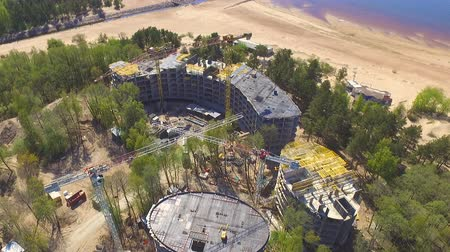 site : Aerial view of construction site Stock Footage