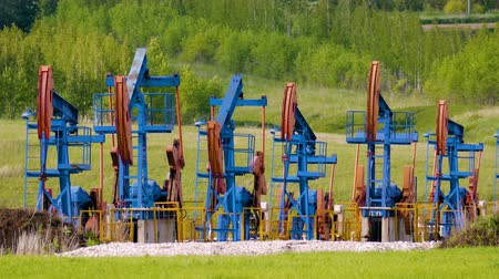 seis : working oil pumps on the ground among the green fields