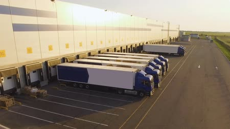 dağıtım : distribution warehouse with trucks awaiting loading Stok Video