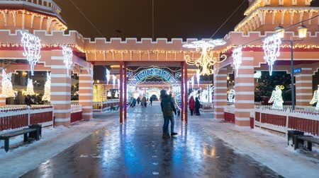 snow-covered pedestrian street decorated with beautiful scenery and New Years lighting. Hyperlapse Filmati Stock