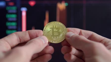 Male hands hold a gold coin bitcoin against the backdrop of a fluctuating exchange rate