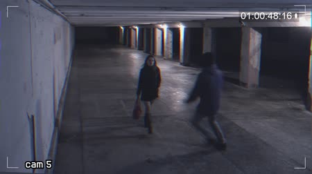 robbing a girl in an underpass. Recording from a surveillance camera Dostupné videozáznamy