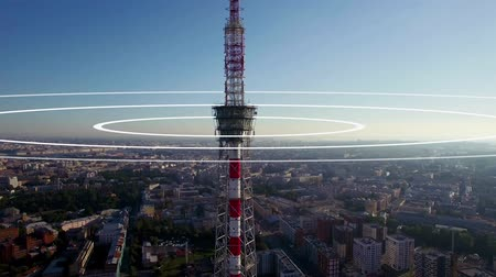 mastro : Visualization of radio waves coming from a large TV antenna towering above the city. Concept visualization of a phone mast emitting radio signals in concentric circles.