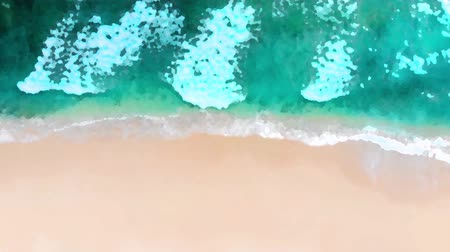 odstín : Beach top view or aerial view with shade emerald blue water and wave foam. watercolor style