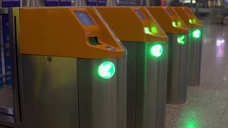 ticket machine : Turnstile for checking tickets for passage inside. Control, verification
