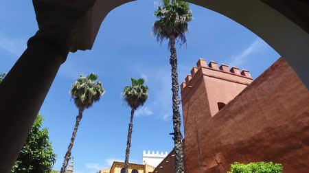 perimeter : Seville, Andalucia, Spain - April 18, 2016: Alcazar, indoor gardens, courtyards and rooms (Ultra High Definition, UltraHD, Ultra HD, UHD, 4K, 2160P, 3840x2160)