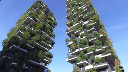 garibaldi : Vertical Forest, Milan, Porta Nuova skyscraper residences, Italy. View of the balconies and terraces of the Vertical Forest, full of green plants