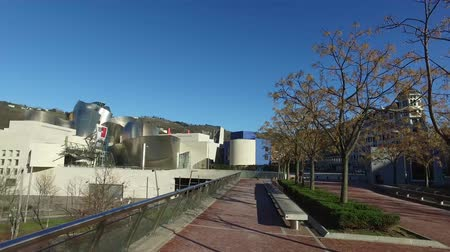 grão : External view of the Guggenheim Museum of Bilbao, exhibition of contemporary art. spain