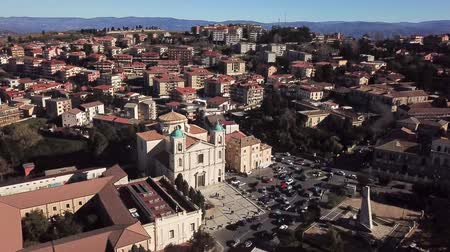 conquest : Cathedral of Santa Maria Maggiore or San Leoluca, municipal park, houses and roofs, urban area, Vibo Valentia, Calabria, Italy. Church Stock Footage