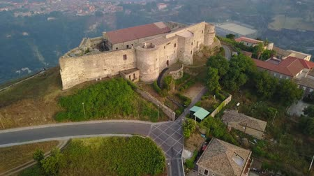 conquest : Aerial view of the Norman Swabian castle, Vibo Valentia, Calabria, Italy. Views of the city, houses and roofs