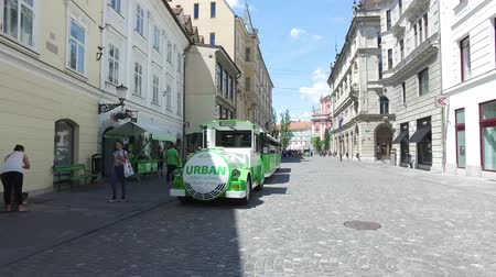 ljubljana : Electric train passing through the city streets of Ljubljana, Slovenia Stock Footage