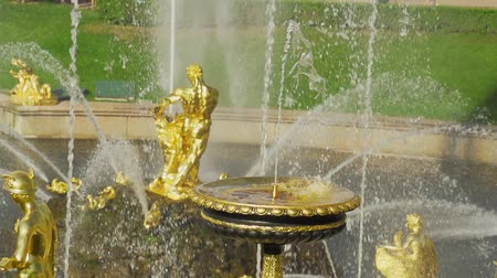 Slow motion fountain Grand cascade in Pertergof Stock Footage