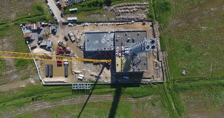 Construction site of gas power plant aerial top view