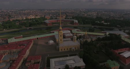 Aerial view of Peter and Paul Fortress in Saint-Petersburg morning Stock Footage