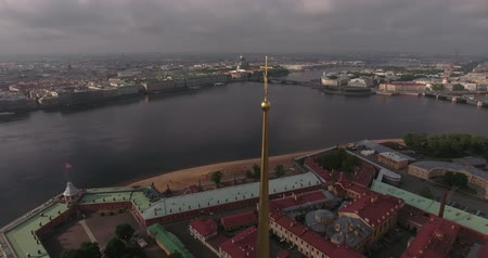 Tower of Peters and Paul Fortress in Saint-Petersburg morning Stock Footage