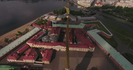Angel on top of Peters and Paul Fortress in Saint-Petersburg morning Stock Footage