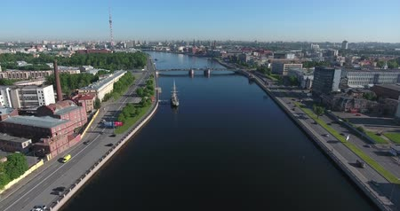 Neva embankment aerial view, Saint Petersburg, Russia