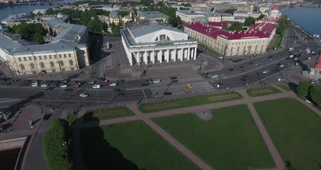 Aerial St. Petersburg Stock Exchange Building, Rastralnye columns, morning