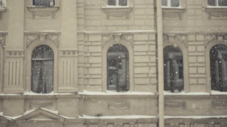 Apartment Building In Snowfall pan