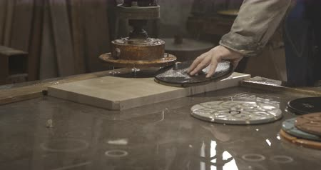 коридор : Man polishing marble stone granite