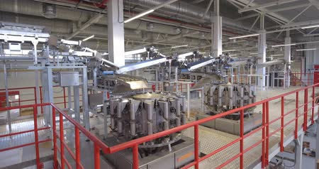 enlatamento : Production line at food processing plant Vídeos
