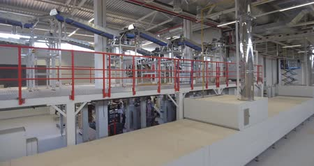 enlatamento : Food production plant interior, copter shot