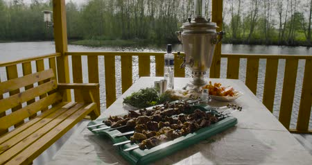 tray : Russian traditional served table barbecue. Vintage style samovar. Stock Footage