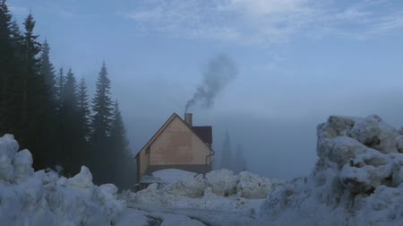 коттедж : House in the woods in the mountains. The chimneys smoke. The action in real time. Стоковые видеозаписи