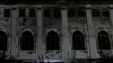 installation lectrique : 3d Show on the Wall of Building the Action in Real Time. Stock Footage