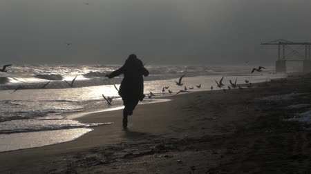 испуг : Silhouette of girl running on the beach and scares the seagulls.